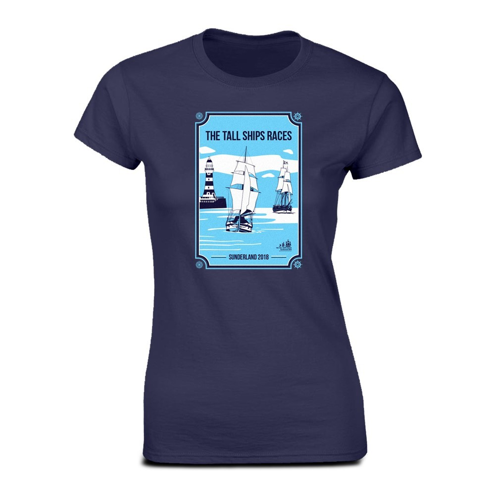 Tall Ships Races Sunderland 2018 Navy Ladies Fitted Event T-Shirt